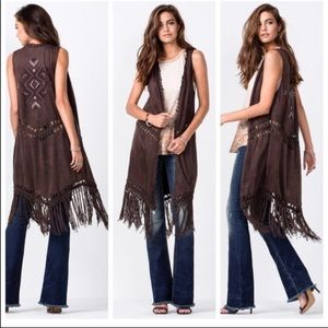 MissMe Beautiful Fringe vest NWOT